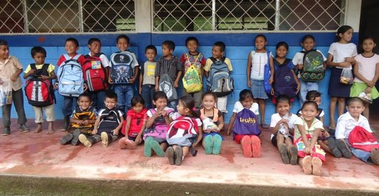Students happy with their backpacks