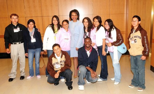 Youth visiting with Condoleezza Rice
