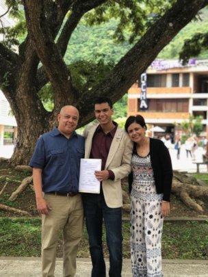 Jose Alejandro with his family