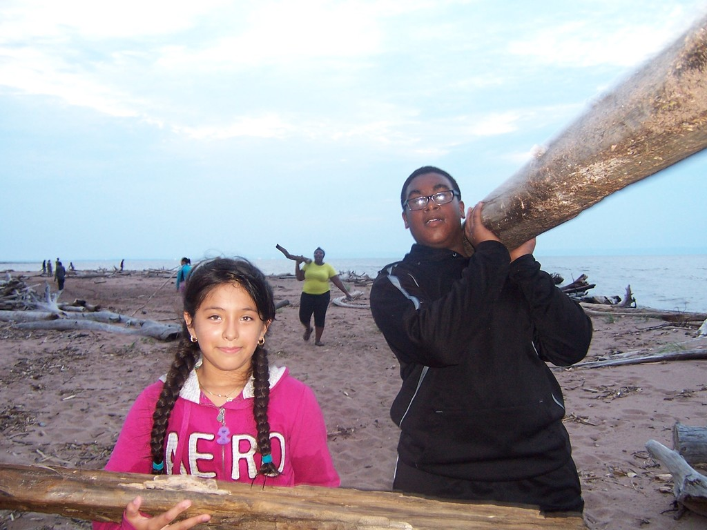 Campers gather firewood on Lake Superior