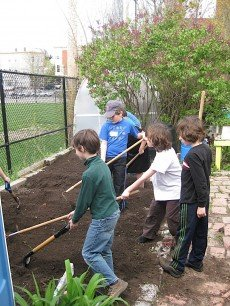 Spring planting in Healey School