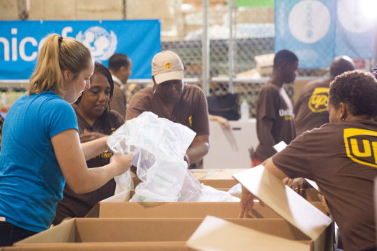 UNICEF USA and UPS workers join up to deliver aid.