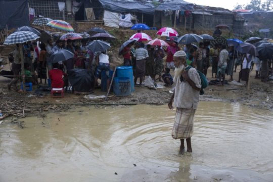 Flooding begins in the camp at Cox's Bazar
