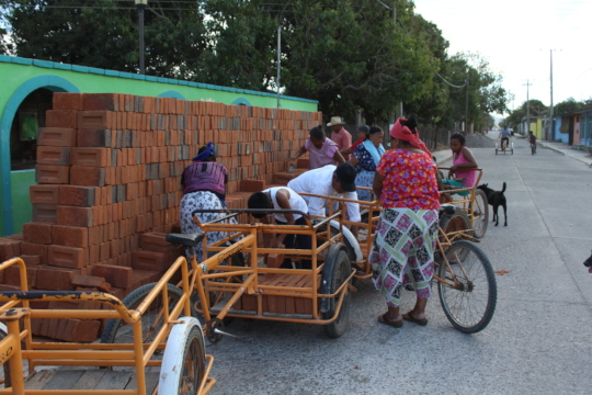 Bricks delivery to different families in Ixtepec