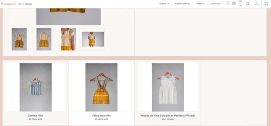 our products on the Ensamble Artesano page