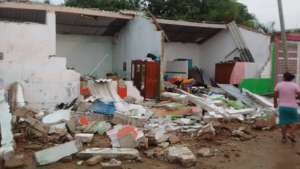 Destroyed homes at Tijijiapan, Oaxaca