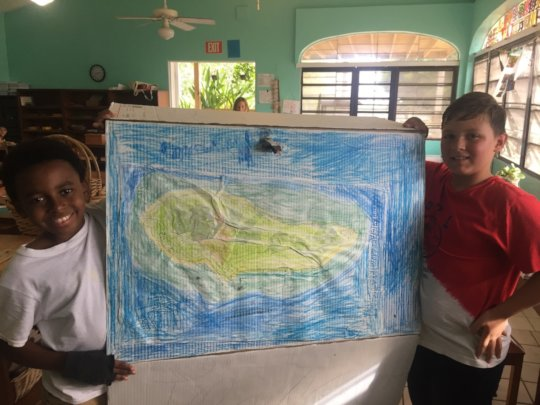 Friends create a STX topographical relief map