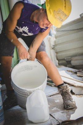 A volunteer in St. John
