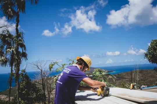 A volunteer hard at work