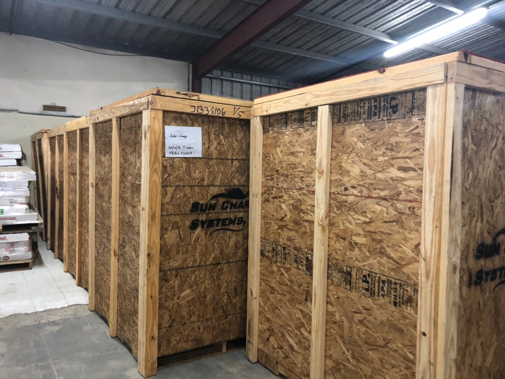 Containers containing our charge stations