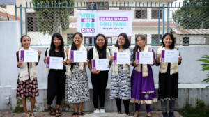 The girls receive a certificate of participation.