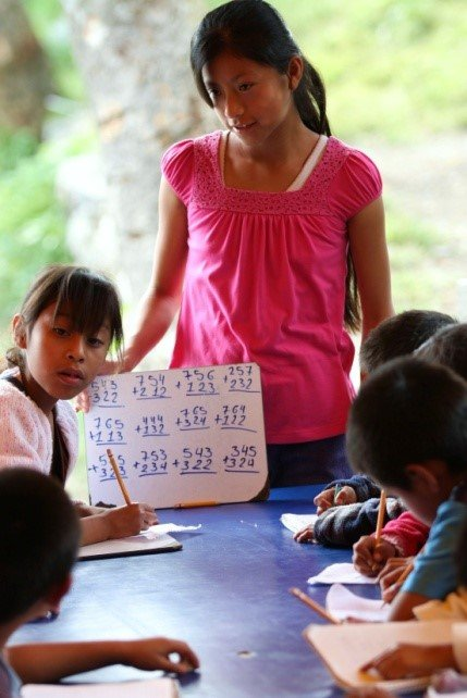 Lina helps with math as her community service