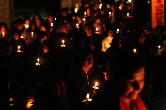 Procession during December posada