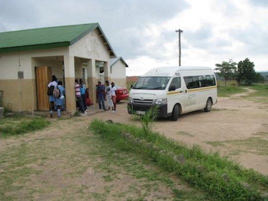 Mondays: Picking up the children in the village