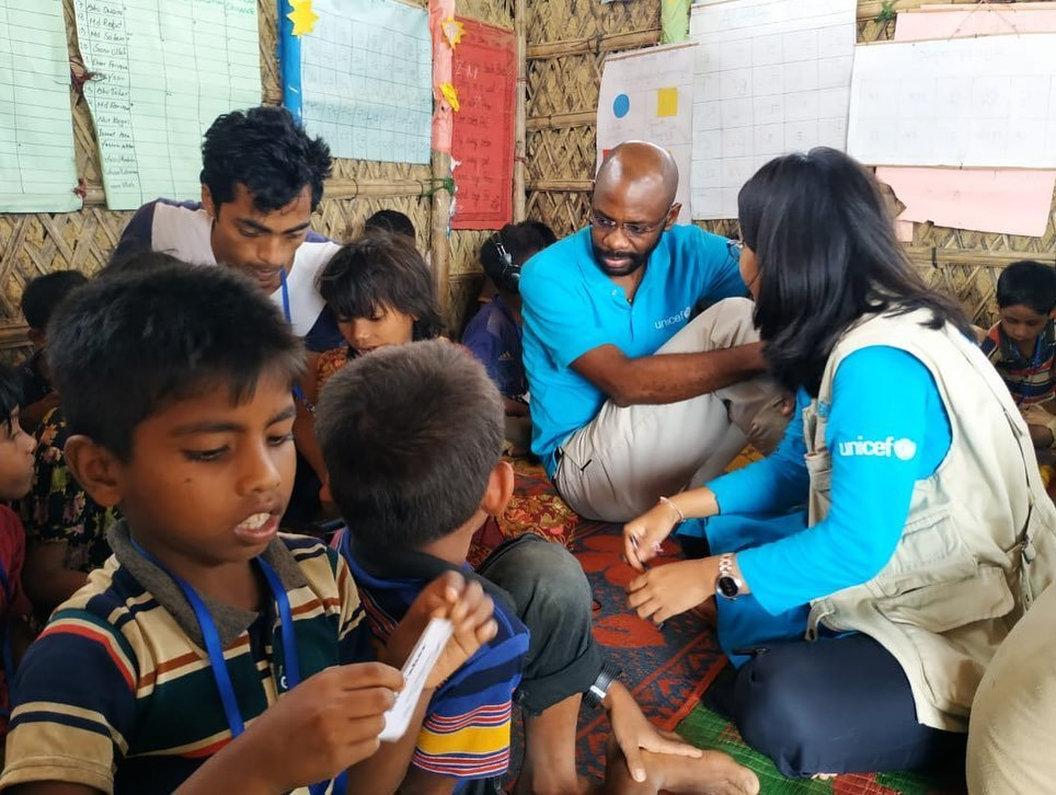 UNICEF team with the children