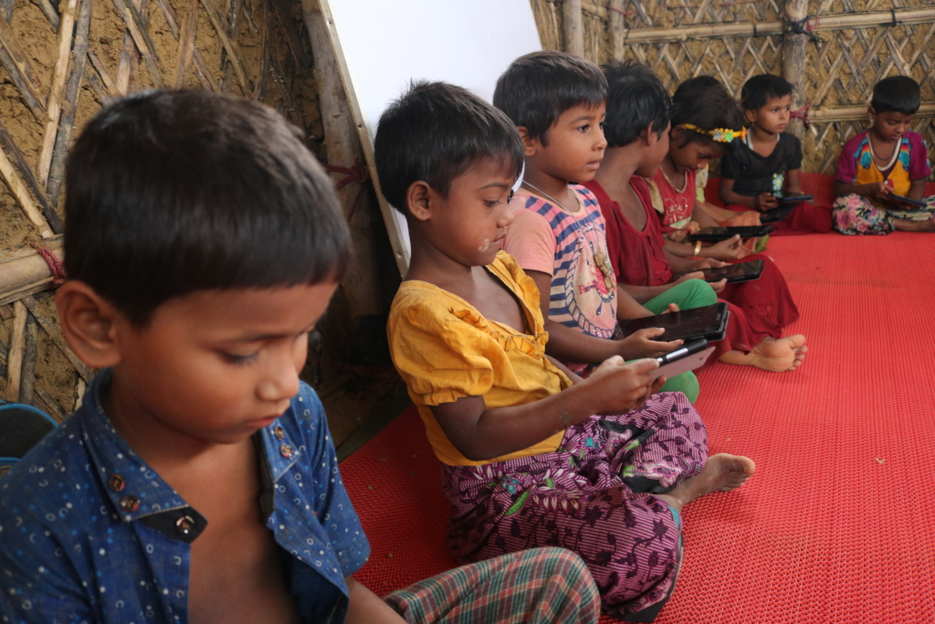 Children with their tablets