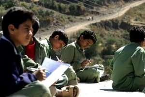 "Yemeni Students at ""School"" Outdoors"