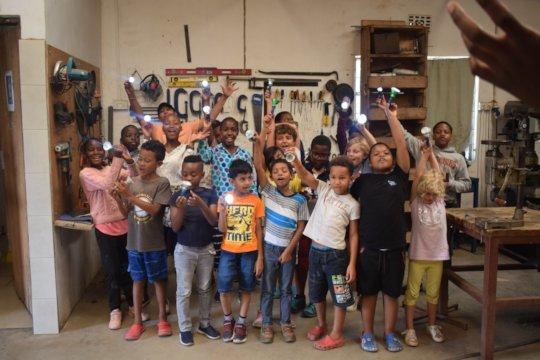 Pupils Celebrating After a Build-It Workshop