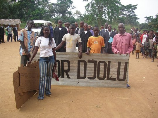 Students in a Parade in Djolu