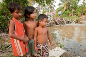 Cambodian Children at Waters Edge