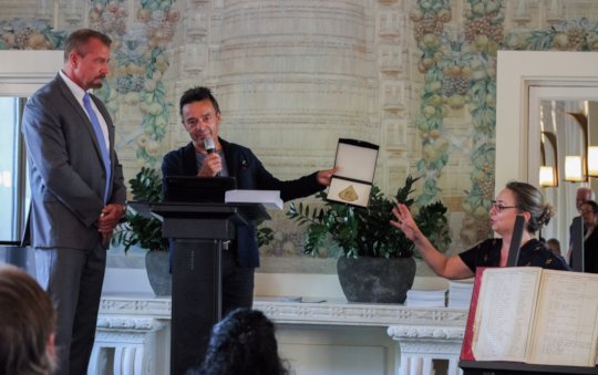 Receiving Evian Gold Key to the City from Mayor