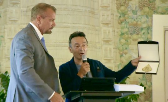 Presented Evian Gold Key to the City by Mayor