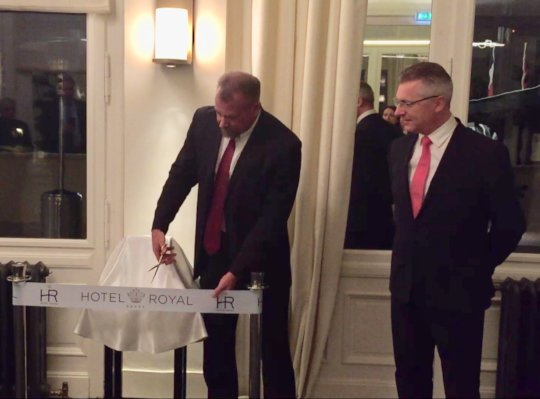 Ribbon cutting ceremony with HR GM Laurent Roussin