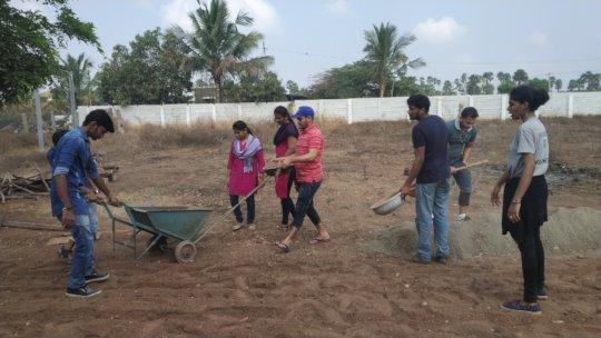 Volunteers at work at the sanctuary
