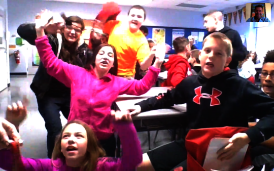 Rhinocation through Skype - Enthusiastic kids!