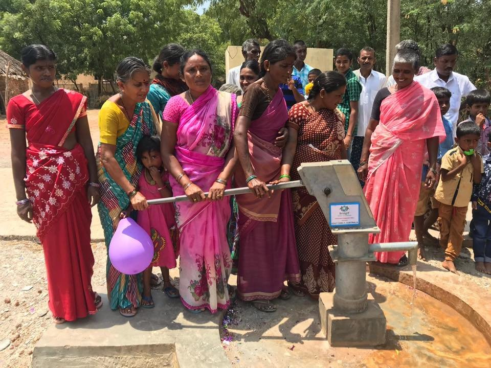 Pumping fresh clean water from new well