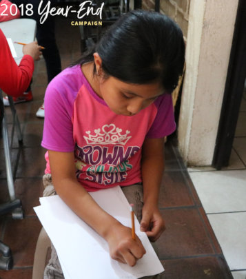 Hadasa, 10, at our Reading Workshop