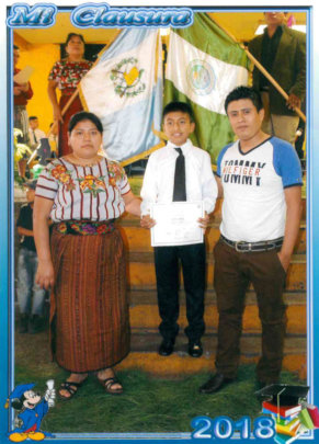 Pedro and his parents, he is the eldest of 4 kids