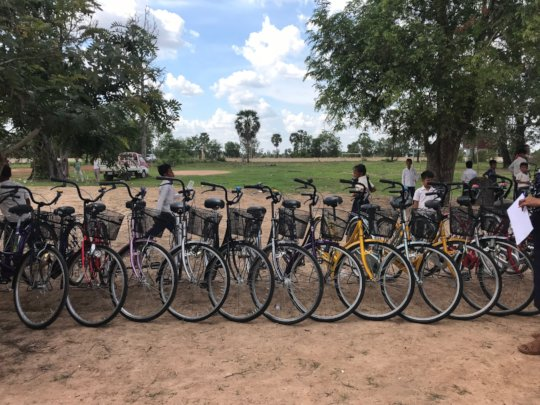 a line of bicycles