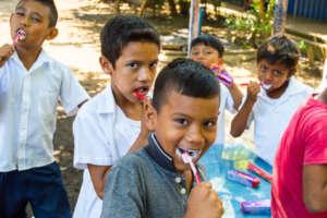 Our children brushing