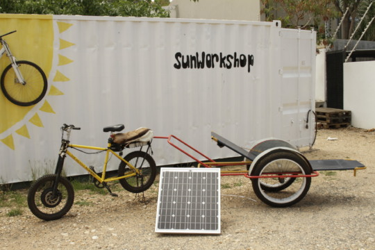 A solar bicycle ambulance ready for action