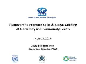 PPAF - Teamwork for Solar & Biogas Cooking - Haiti (PDF)
