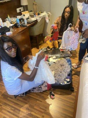 VSCWC staff excited preloved children's wear ready