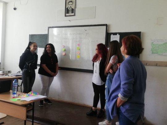Students work on the design thinking method