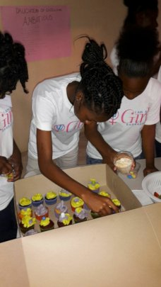Girls learning team work & patience during baking.