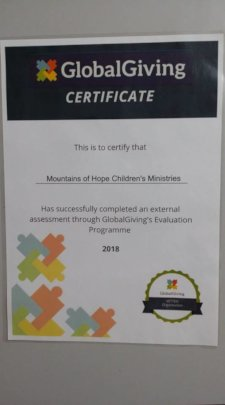 Globalgiving evaluation certificate