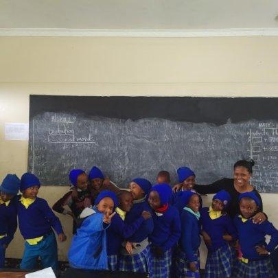 Class 2 with their new teacher