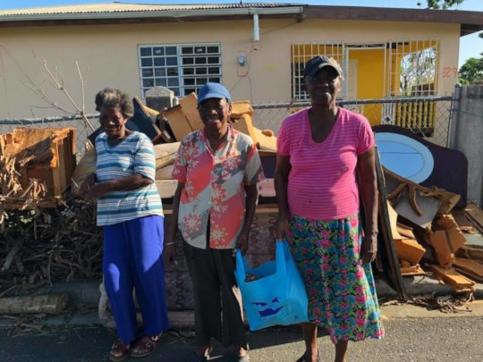 Residents receive gift bags filled with essentials