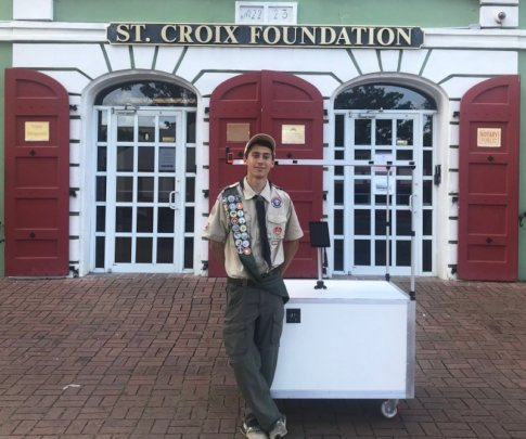 A young inventor with his solar charging station!