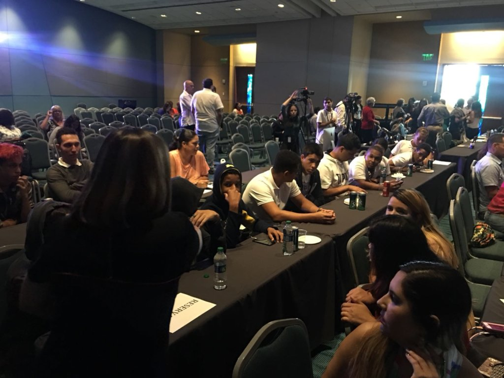 Students at journalism event about Hurricane Maria