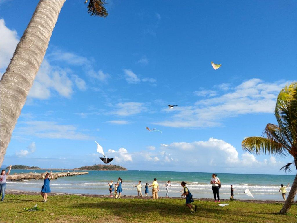 Children flying their kites by the ocean