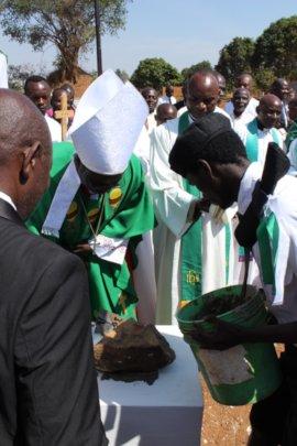 Bishop Bertin laying the school
