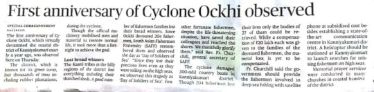 First anniversary of Ockhi cyclone observed
