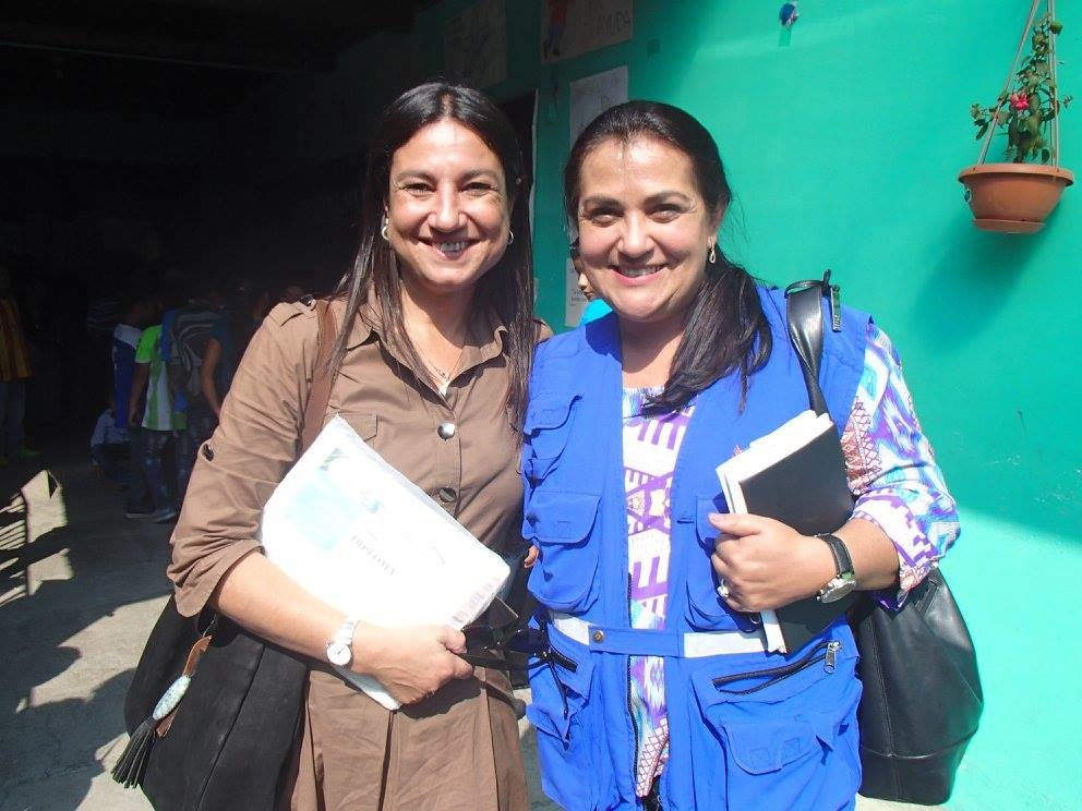 GHT coordinator Virginia with Debora at the school