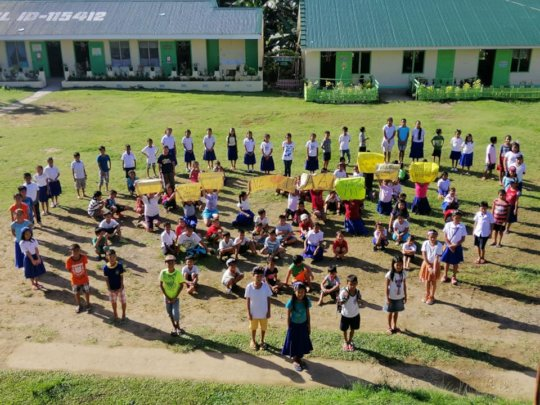 Typhoon survivors create a fond Heart of Thanks