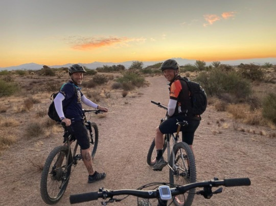 Jeff and friend on a trail ride in Arizona